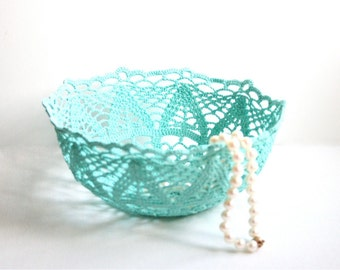 Blue Crocheted Lacy Bowl Shabby Chic Cottage Chic