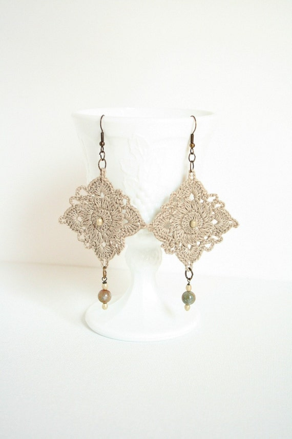 Linen Crocheted Earrings