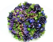 """Christmas  Wreath Purple Hydrangea Lime Green and Purple Pine Holiday Wreath (LARGE Approx 25"""")"""