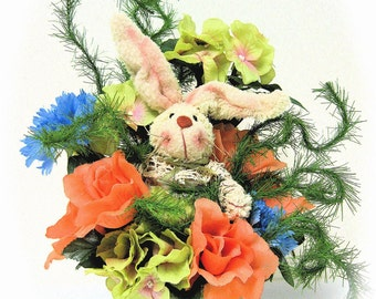 "Spring Floral Arrangement Silk Floral Centerpiece with Bunny  ""Bunny Patch Collection"""