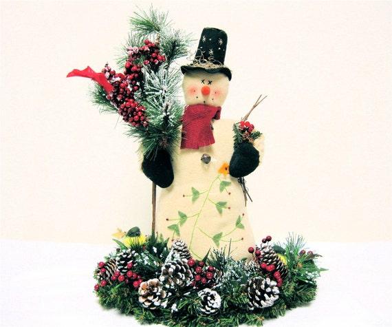 Items similar to primitive snowman christmas arrangement