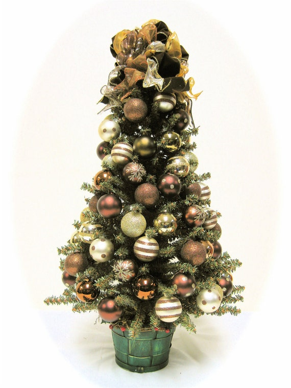 Christmas tree table top predecorated pine holiday pine tree Brown and gold christmas tree