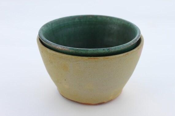 Ceramic Prep Bowls Set of Two Handmade Pottery Small Bowls