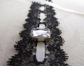 Black Lace Headband w/ Cream Ribbon and Rhinestones