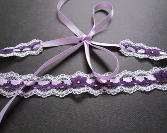 Purple Headband, Lace Hairpiece, Bridal Headband, Purple Headpiece, Lace Headband, Wedding Hairband, Purple Hair Accessories