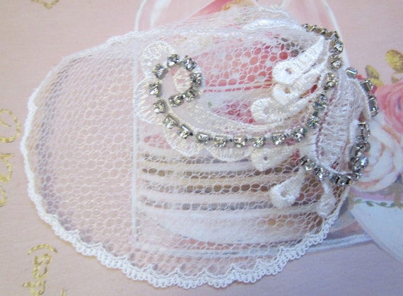 Mini Veil Cocktail Hat with Lace Applique and Rhinestones