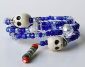 Day of the Dead Muertos One Size Fits all Cube Blue Glass Ceramic Skull Wrap Bracelet
