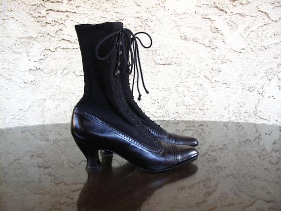 vintage VICTORIAN style STUART WEITZMAN BLaCK LeATHeR GRaNNY boots 36 / 6
