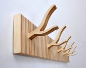 Wall Hooks, Modern Twig Coat Rack - 5-Peg TWIGGY series 'Straight and Narrow'