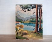 """Paint by Number Artblock - 'Pine Lake View', 8"""" x 10"""", landscape, vintage, trees, water, mountains"""