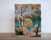"""Paint by Number Art Block - 'Birch Lake View', 8"""" x 10"""", landscape, vintage, trees, water, mountains"""