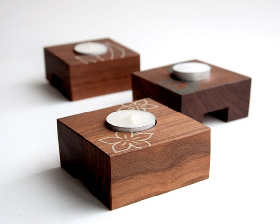 Modern Walnut Tealight Holders with Inlay details - Set of 3