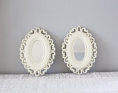 Vintage Pair of Framed Mirrors Ivory Off White Hollywood Regency Style