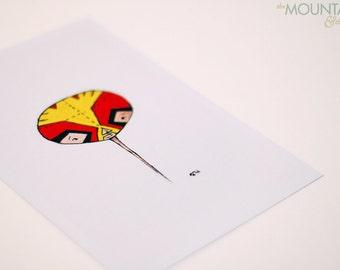 The Wrestler - Little floating head digital art print