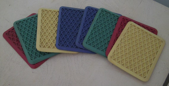 Rubbermaid Kar-Rug Salesman Sample Coasters Blue Red Yellow Green Retro Vintage Altered Art