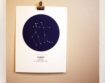 sky maps / astrological print / all signs available / 8x10 custom color print