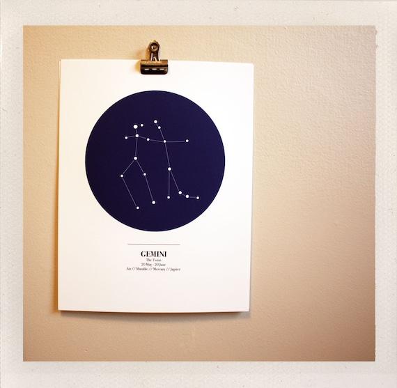 sky maps / astrological print / all signs available / 8x10 custom color print