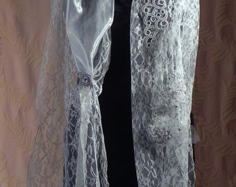 Romantic handmade grey Lace Scarf with pieces of embroidery and collections of fabrics