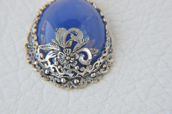 blue summer accessories blue agate silver pendant jewelry making materials