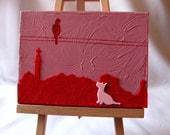 I think I could reach: Canvas Painting of Scotty Dog and Bird overlooking Calton Hill, Edinburgh, Scotland