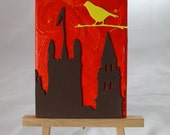Autumn Church: Sweet Canvas Painting with Bird overlooking St James Church, Edinburgh, Scotland