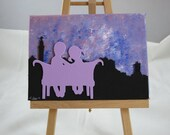 Cosied up at Calton: Wee Canvas Painting of Couple at Calton Hill overlooking Edinburgh in Purple, Edinburgh, Scotland