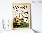 "OOAK Wood Inlay Art Work ""Telephone"" - Art Design - Marquetry - Handmade - Home Decor"