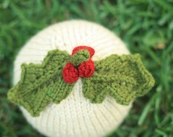 Knit Baby Hat - Holiday Holly Leaves with Berries - Photography Prop