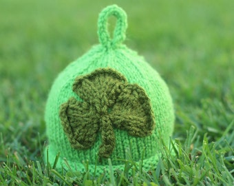 Knit Green Baby Clover Hat - St Patrick's Day Photo Prop