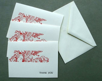 Thank you Pied Piper letterpress cards (pack of three cards with envelopes)