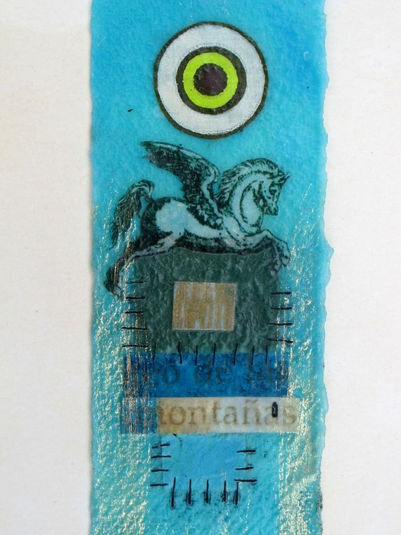 Turquoise Pegasus Encaustic Bookmark