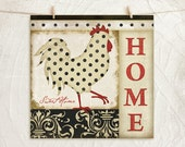 Home Sweet Home Vintage Style Rooster 12x12 Art Print -Country, Inspirational Kitchen Art -Decorative Patterns -Black, Red, Cream, Tan