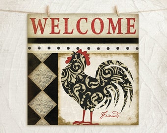 Welcome Friends Vintage Style Rooster 12x12 Art Print -Country, Kitchen Wall Decor -Decorative Patterns -Black, Red, Cream, Tan