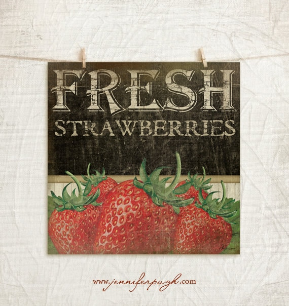 Fresh Strawberries 12x12 Print -Kitchen, Vintage, Home, Wall Decor -Fresh Fruit Collection -Red, Black, White, Green, Tan
