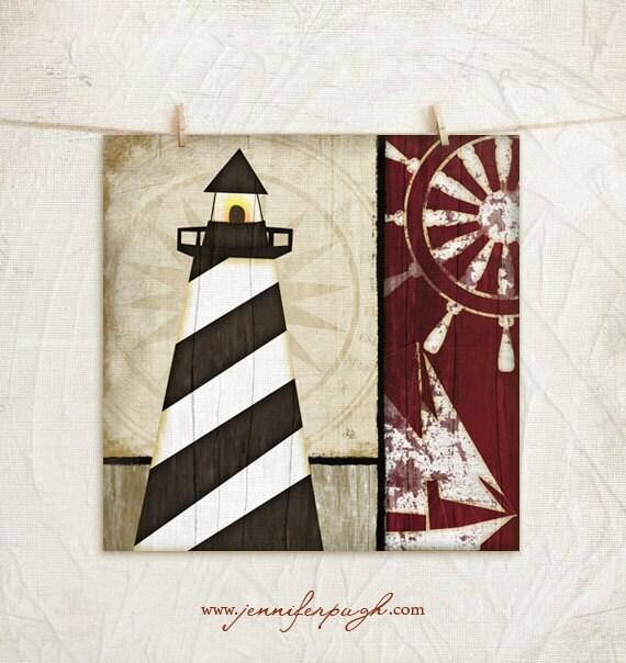 12 Nautical Decor Ideas: Nautical Lighthouse I 12x12 Art Print Coastal Decor