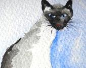 Siamese Cat Painting ACEO watercolor - cat art card original