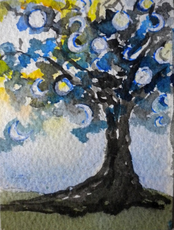 Moon Tree watercolor ACEO - Art Card Editions and Originals