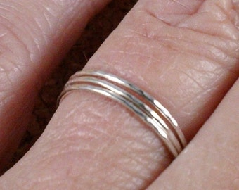 Teeny Tiny Delicate Thin Stacking Rings In Sterling Silver Set SRAJD