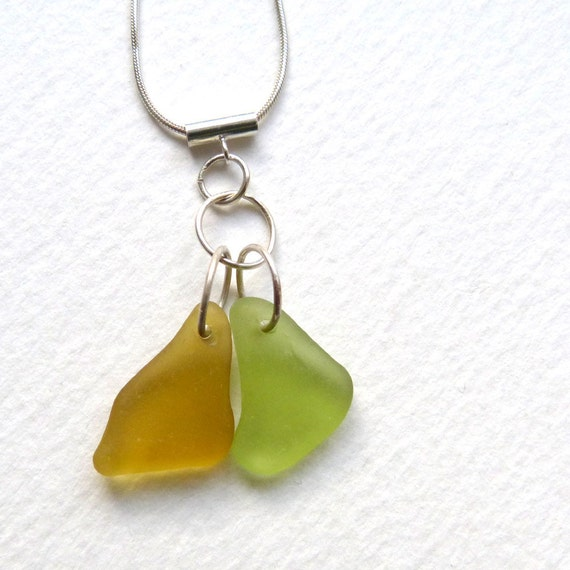 Sea Glass Necklace Yellow Amber Citron Green on Sterling Silver Chain
