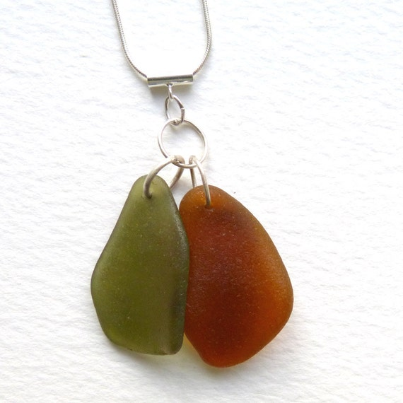 Sea Glass Necklace Green  Brown on Sterling Silver Chain