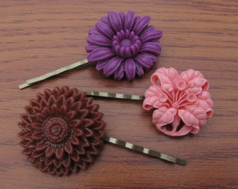 Flower Hairpins, Flower Cabochon Bobby Pins- Set of 3
