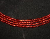 Red Seed Bead Necklace - 57 inch Continuous Strand
