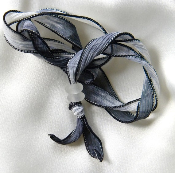 RESERVED FOR Shelle-Sea Glass Silk Wrap Around Black White Accessory