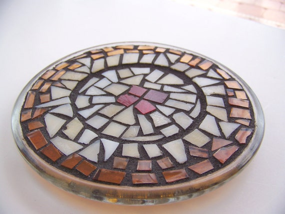 Mosaic Candle Holder - Trivet - Stained Glass Earthy Home Decor Recycled Glass Art