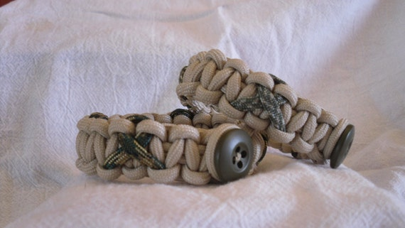Support The Troops Paracord Survival Bracelet--Desert Tan with Camo Ribbons