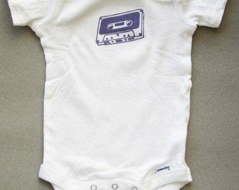 Cassette tape print onesie- Short sleeve 3-9 months