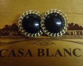 TREASURY ITEM Vintage Ellen Designs Black and Gold Button Earrings Large