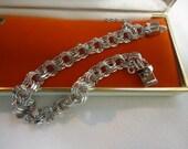 Vintage Charm Bracelet Sterling Silver Bracelet Elco Triple Loop Mint Estate Jewelry