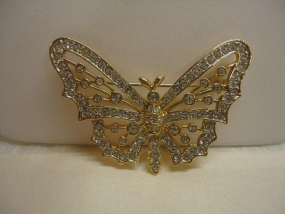 Vintage Brooch Butterfly Rhinestone Goldtone Brooch Jewelry