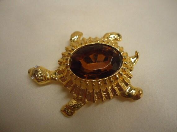 Vintage Brooch Turtle Topaz Faceted Glass Rhinestone Brooch Jewelry